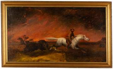 19th Century Unsigned Painting of Prairie Fire