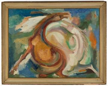 Eliahu Adler (born 1912) Painting of Stylized Horses