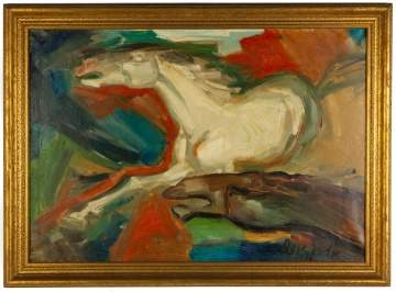 Eliahu Adler (born 1912) Painting of Two Horses
