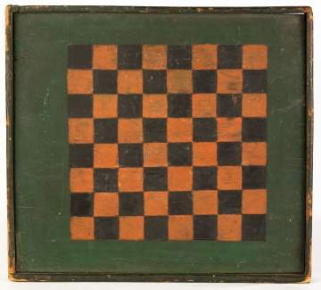 19th Century Painted Checkerboard and Backgammon