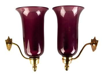 Pair of Blown Glass Amethyst Wall Sconces with Brass Mounts