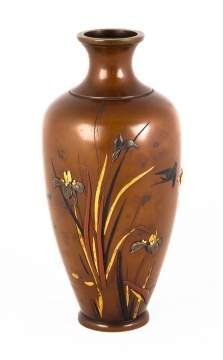Japanese Bronze Mixed Metal & Enameled Vase