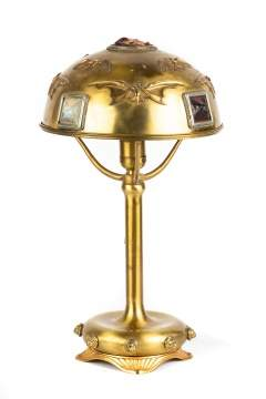 Bradley and Hubbard Brass and Jeweled Lamp