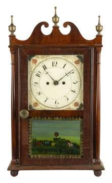 Unsigned Miniature Pillar & Scroll Clock