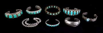 Nine Silver and Turquoise Navajo Bracelets