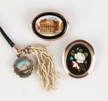 Gold Micro Mosaic and Pietra Dura Pins and Pendant