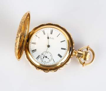 18K Gold and Enameled Waltham Pocket Watch