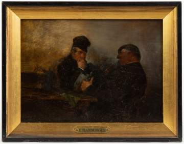 E. Harburger Painting of Two Men with Tankards