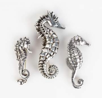 Three Sterling Seahorse Pins