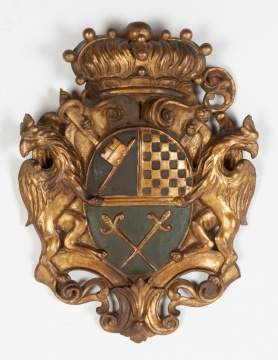 Continental Carved and Giltwood Coat of Arms