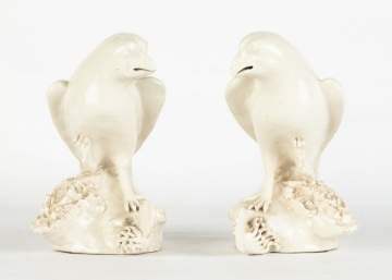 Pair of White Glazed Chinese Birds