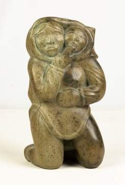 "Kabaroak Inuit Sculpture, ""Mother and Child"""