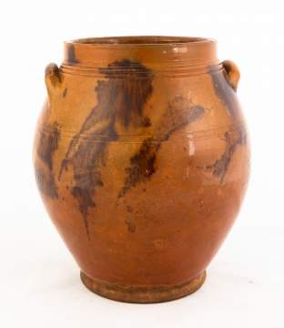Decorated Redware Ovoid Jar