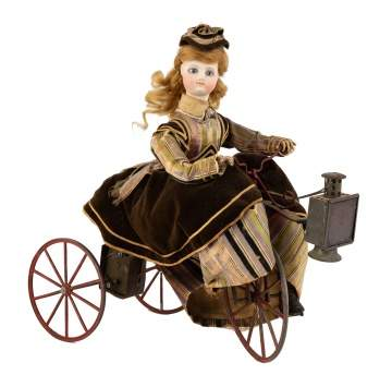 French Clockwork Automaton Tricycle with Bisque Doll