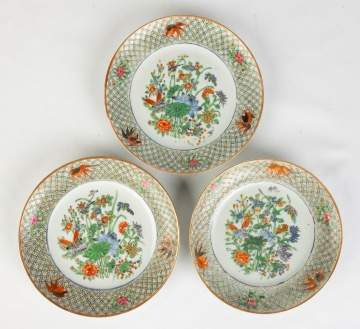 Three Chinese Porcelain Hand Painted Plates