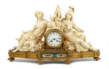 French Brass and Painted Metal Shelf Clock
