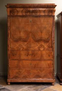 Biedermeier Walnut Secretary Desk
