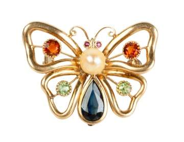 14K Gold Butterfly Brooch