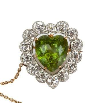 14K Gold & Platinum Heart Shaped Peridot & Diamond Pendant