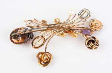 Mixed Karat Multiple Stick Pin Brooch with Natural Stones