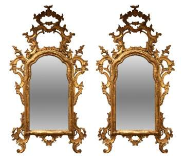Pair of 18th Century Italian Giltwood Pier-Mirrors