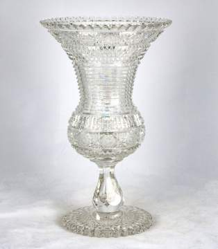 Hawks Brilliant Period Cut Glass Chalice Pedestal Vase