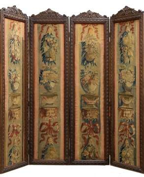 Early Continental Carved Wood Screen with Aubusson Panels