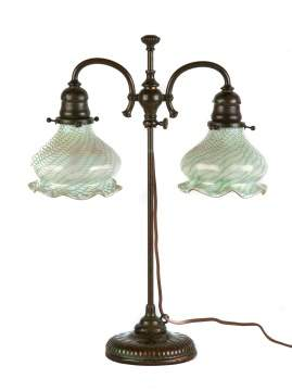 Tiffany Studios , NY Table Lamp with Ruffled Quezel Shades