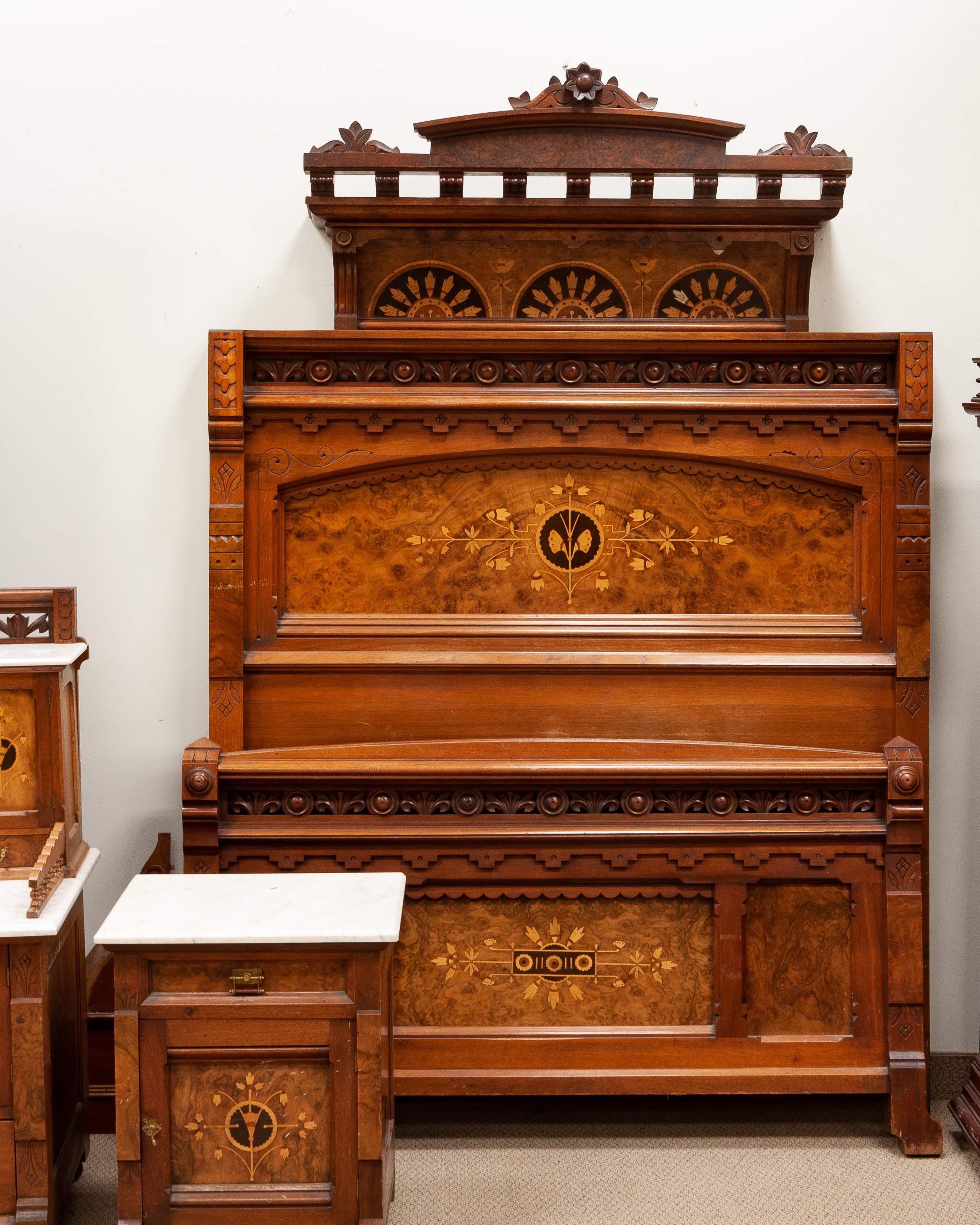 19th Century Aesthetic Walnut & Burl, Marble Top Bedroom Set ...