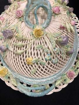 Rare Belleek Oval Reticulated Covered Basket