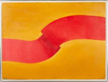 "Roberto Donis (Mexican 1934-2008) ""Redstripe on Ochre"""