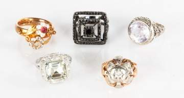 Five Costume Jewelry Rings