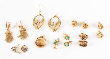 Group of Gold Earrings and Locket