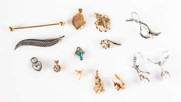 Group of Various Gold Pins, Earrings and Pendants