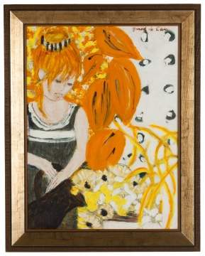 "Helene Girod de L'Ain (French, 1926-1989) ""Feuilles Oranges"" (Girl with Orange Leaves)"