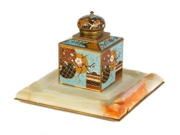 Cloisonne and Onyx Inkwell