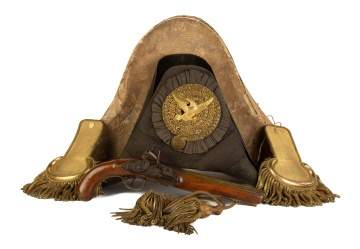 War of 1812 Era Military Hat with Epaulets and Sash