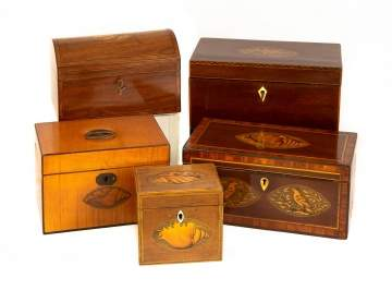 Five Inlaid George III Tea Caddies