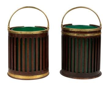 Two George III Brass Bound Mahogany Buckets