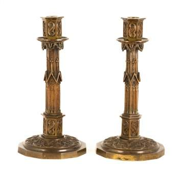 Pair of Bronze Charles X Gothic Candlesticks