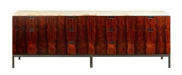 Florence Knoll (American, 1917-2019) Brazalian Rosewood & Carrara Marble Credenza