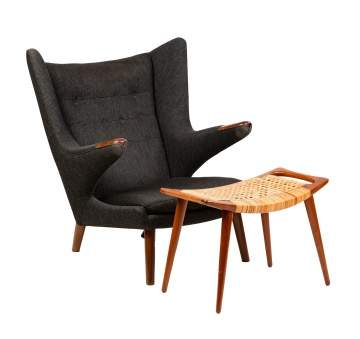 Hans J. Wegner (Danish, 1914-2007) Papa Bear Chair and Ottoman