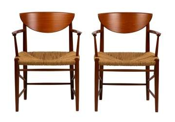 Pair of Peter Hvidt (Danish, 1916-1986) Papercord Chairs