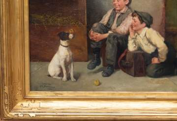 John George Brown (British, 1831-1913) Boys with Dog