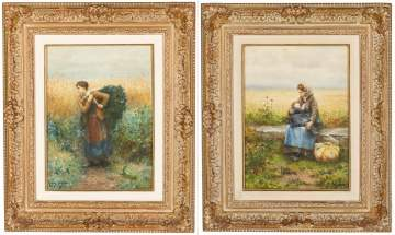 Pair of Daniel Ridgeway Knight (American,  1839-1924) Watercolors of Peasants