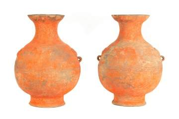 Pair of Chinese Han Dynasty (206 BC-220 AD) Terracotta Hu Form Vessels