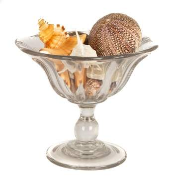 New England Blown Glass Compote with Collection of Shells