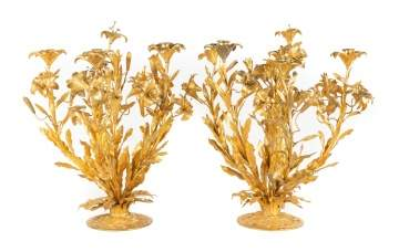 French Gilt Bronze Candelabras