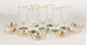Fine Green Overlay Engraved Glasses