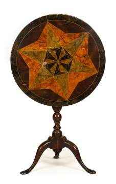 English Tilt Top with Marbleized Paint Decorated Star Top